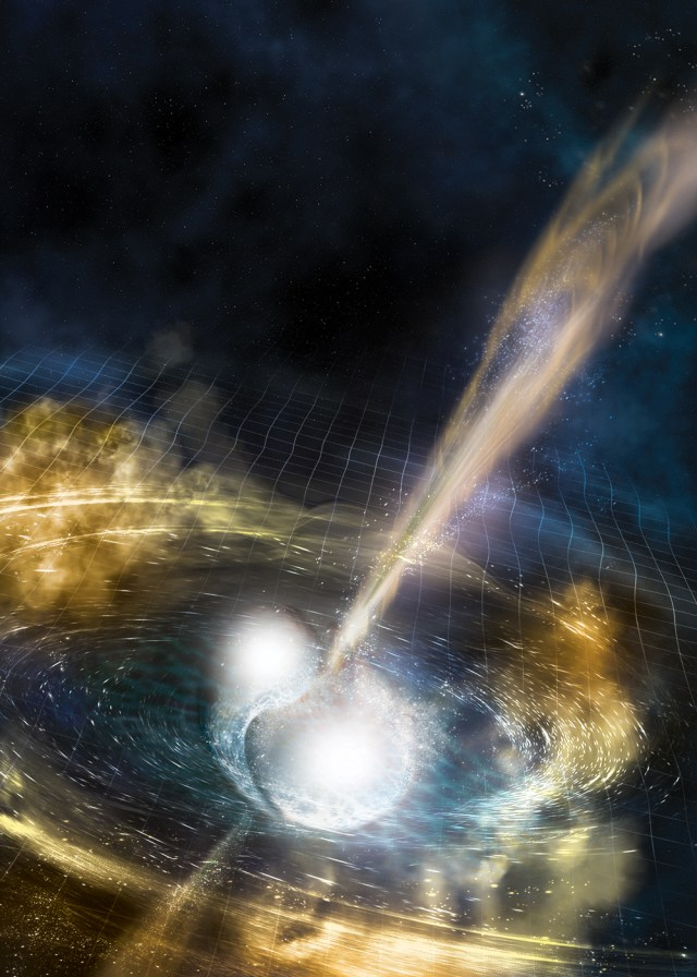 Artist's rendering of the neutron-star merger depicting a gamma-ray burst and ejected material swirling around the merging stars.