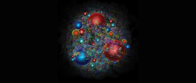 An illustration of a chaotic scene of spheres representing quarks and gluons.