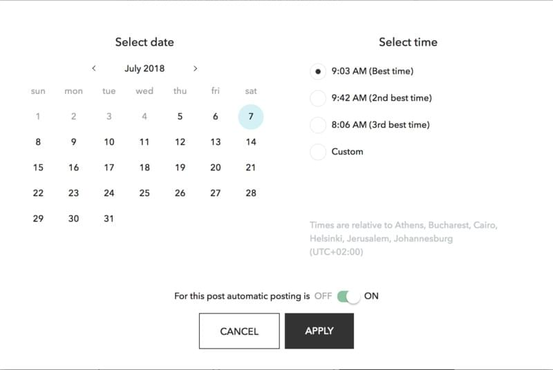 Select the date and time at which you want to schedule instagram posts