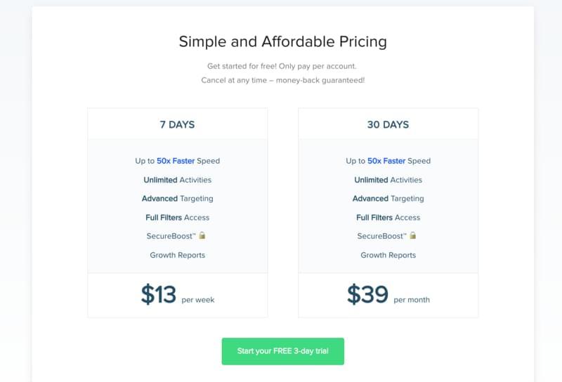 SocialDrift pricing