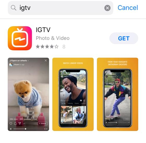 download the IGTV app