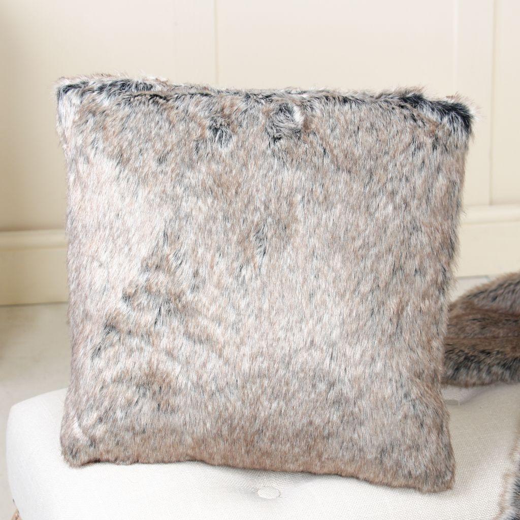 atsina grey faux fur cushion