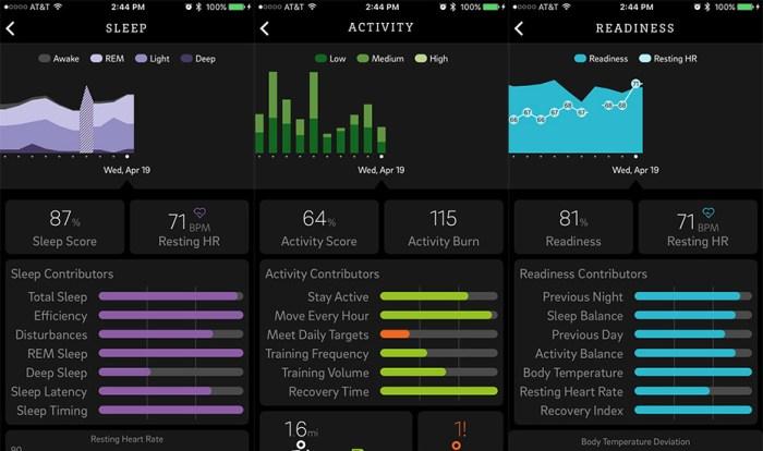 Oura Ring Mobile App Graphs