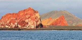 Volcanic Landscape of Santiago Island showing both basalt (orange) and tuff