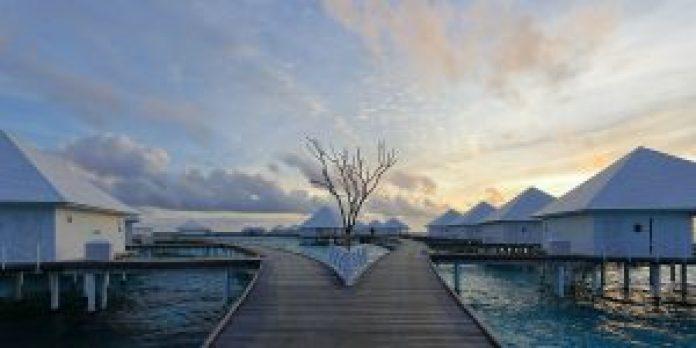 Water Villas on Thudufushi, Ari Atoll, Maldives.