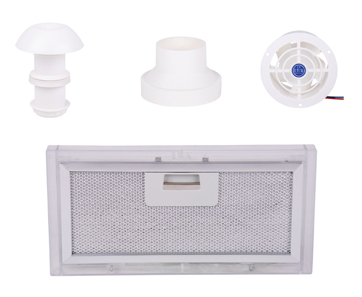 exhaust air set 4 part with roof chimney fan adapter filter