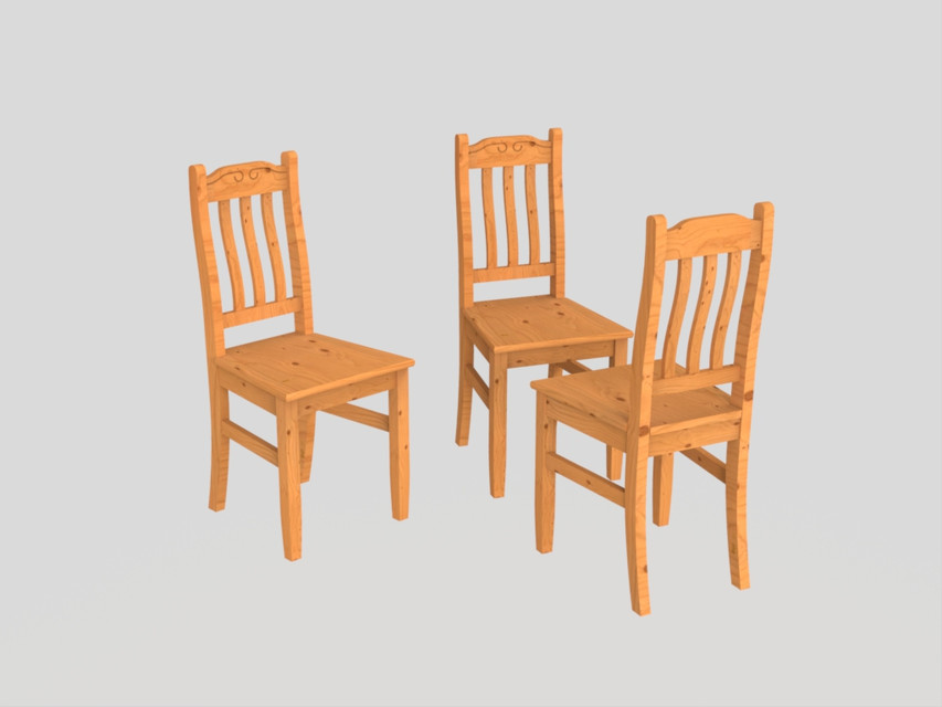 chaise de salon ou cuisine en bois 3d