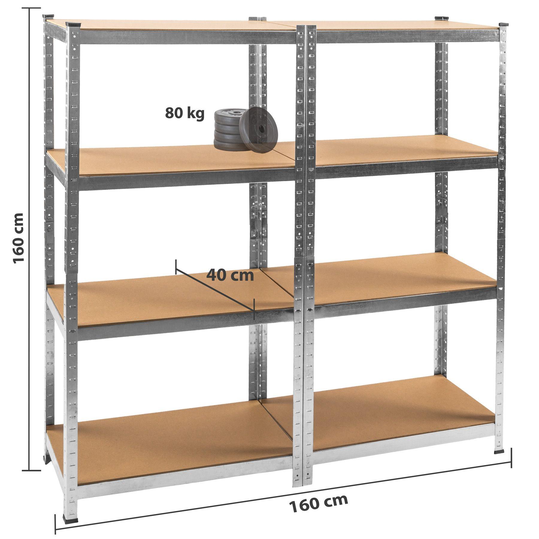 details sur etagere 640kg charge lourde metallique de rangement objets atelier 160x160x40