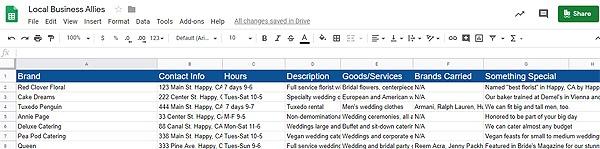 Screenshot of local business allies spreadsheet