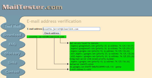 A screenshot of MailTester.com showing an email address is still in use by highlighting it in green.
