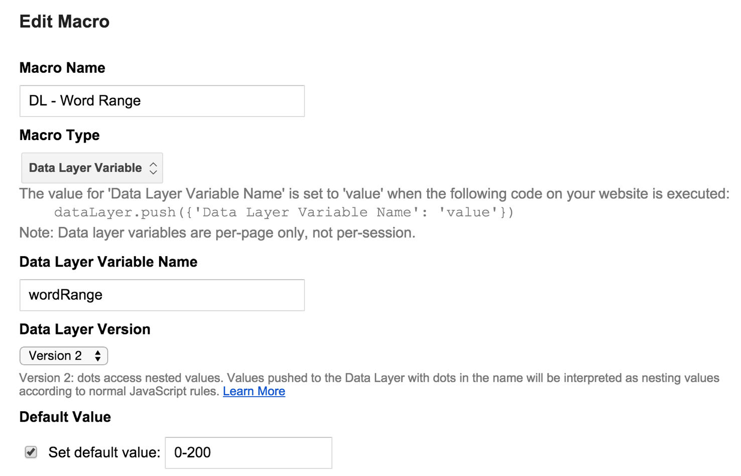 Data Layer Variable Google Analytics