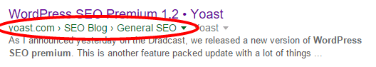 How breadcrumbs may appear in the SERPs
