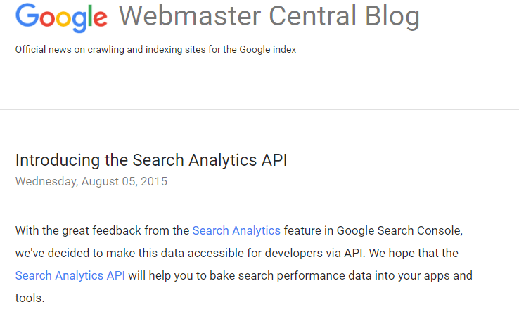 Official Google Webmaster Central Blog Search Analytics API