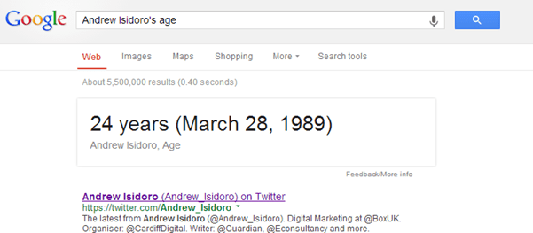"Google Search for ""Andrew Isidoro's Age"""