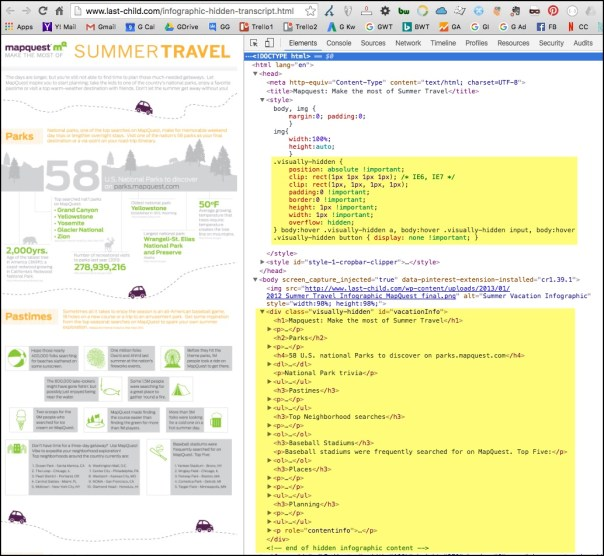 Screenshot of iframe page showing the infographic alongside the code for the page showing formatted descriptive text in the code.