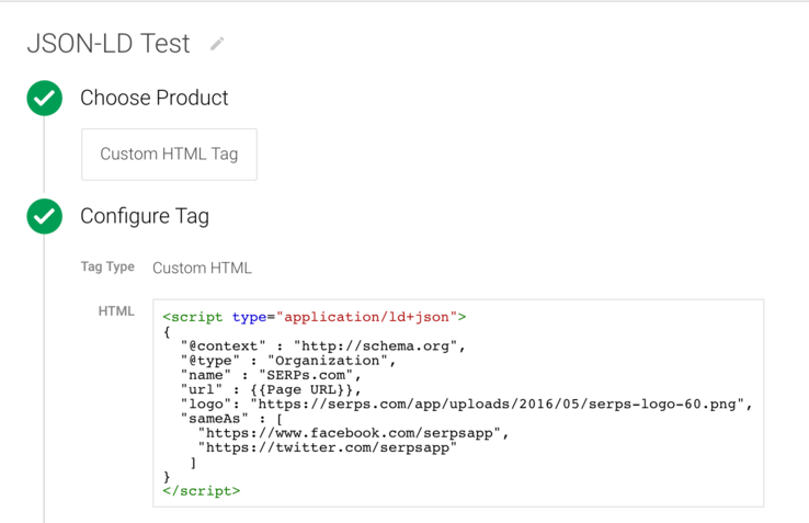 Using tag manager to insert JSON-LD with dynamic variables