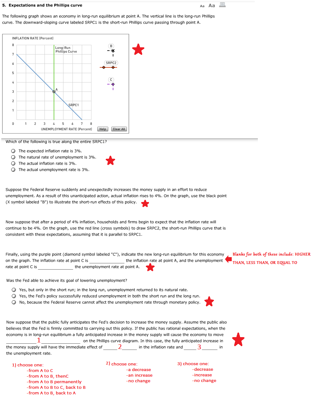 Solved The Following Graph Shows An Economy In Long Run E