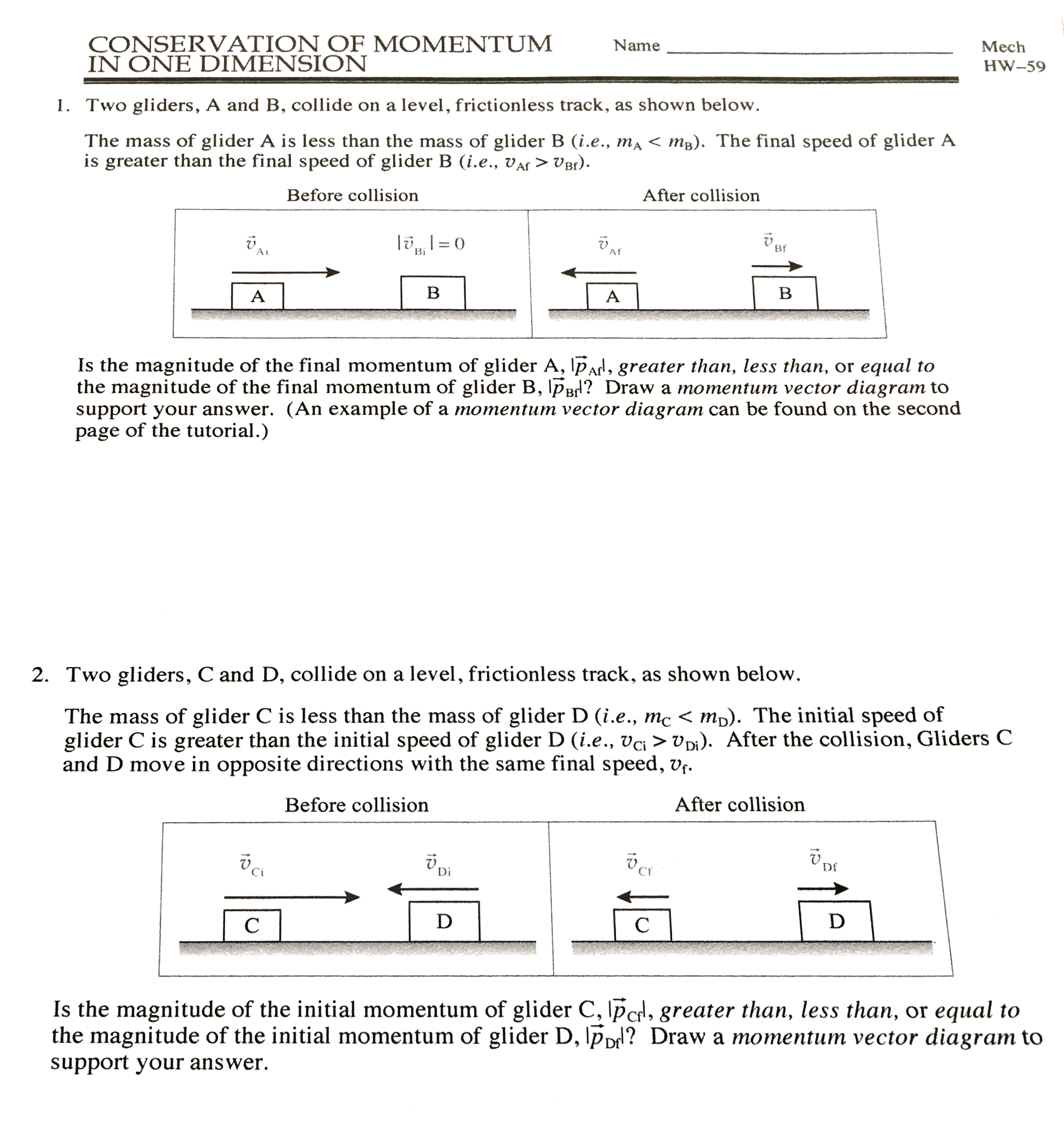 Physics 30 Worksheet 4 Conservation Of Momentum 2