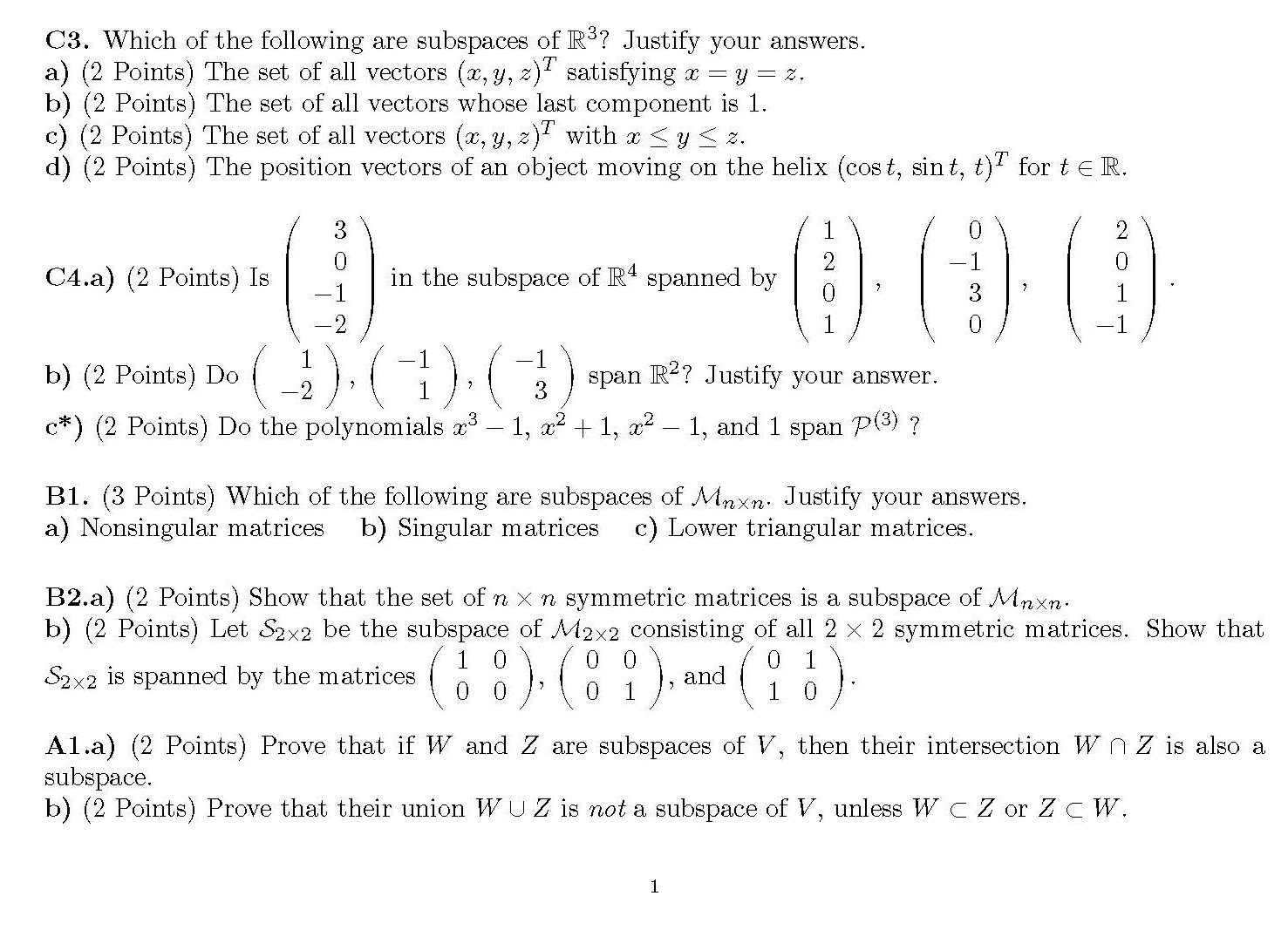 C3 Which Of The Following Are Subspaces Of R 3 J