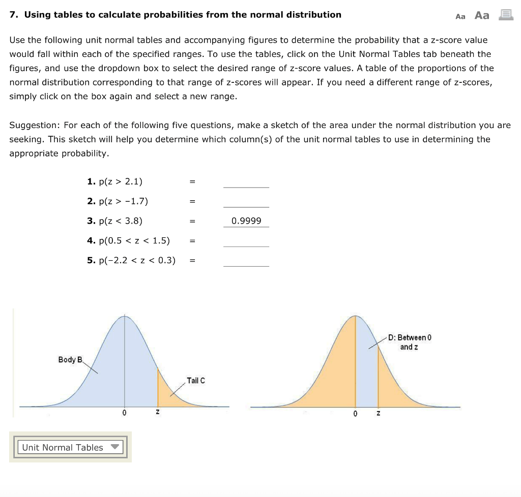 Solved 7 Using Tables To Calculate Probabilities From Th