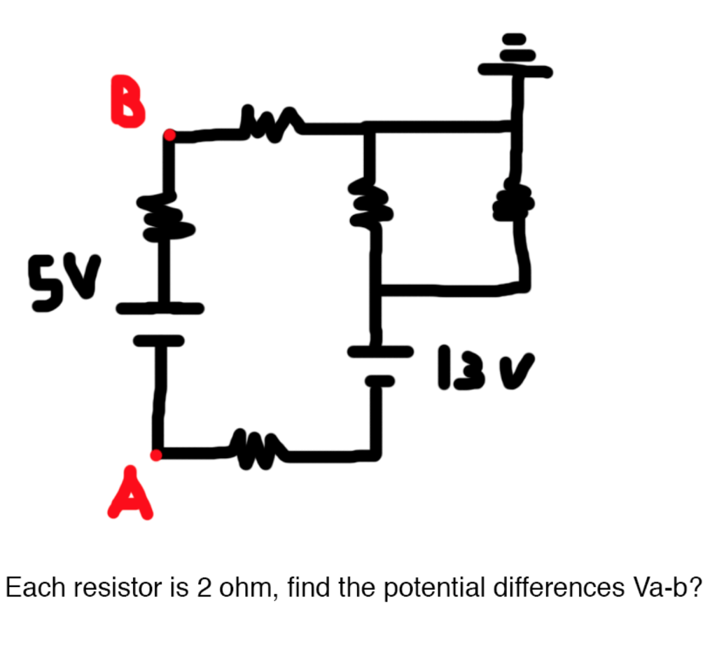 Each Resistor Is 2 Ohm Find The Potential Differe