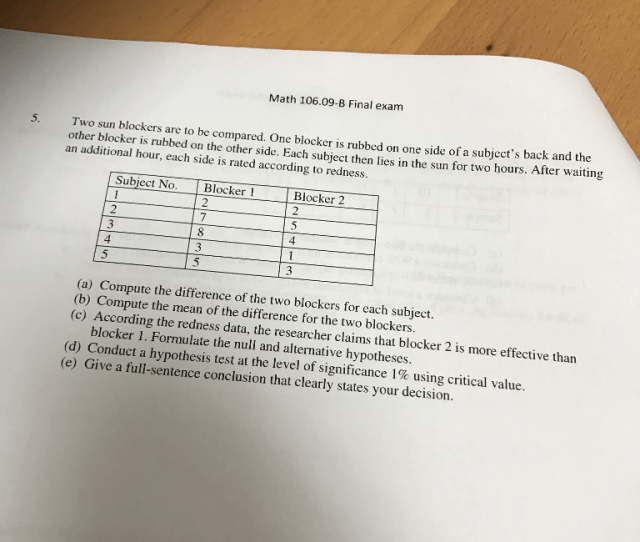 Math 106 09 B Final Exam 5 Two Sun Blockers Are To Be Compared