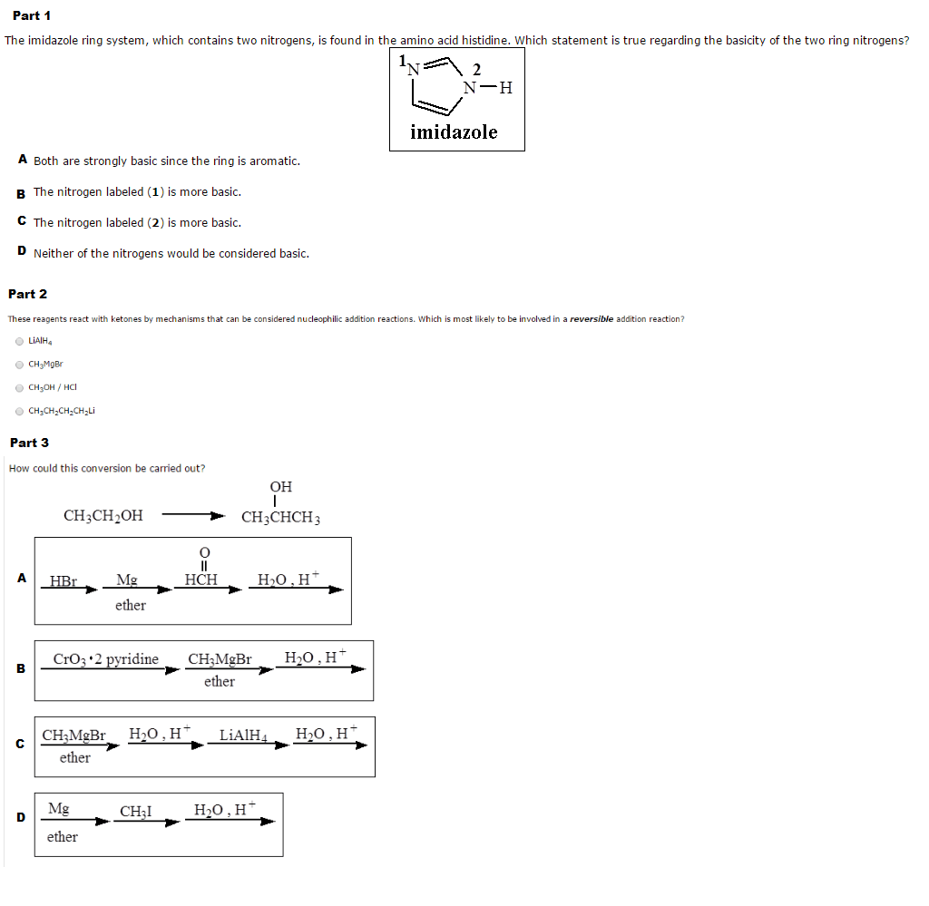 Solved The Imidazole Ring System Which Contains Two Nitr
