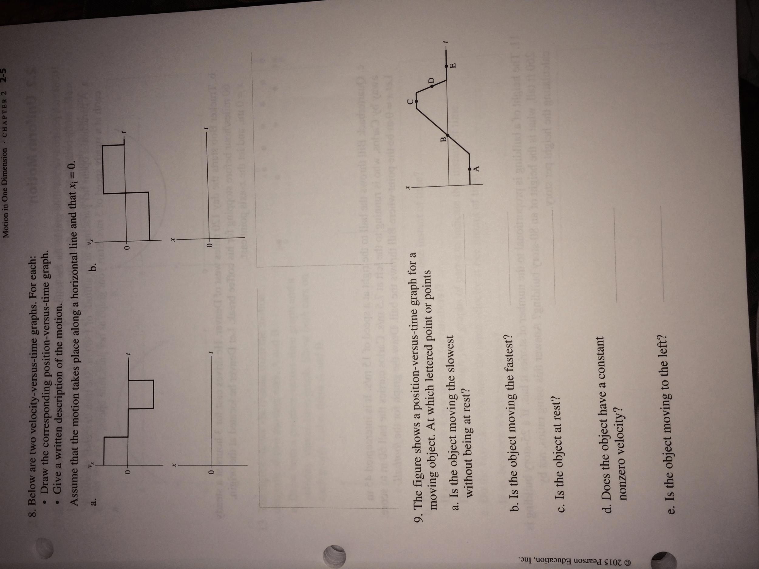 Solved 8 Below Are Two Velocity Versus Time Graphs Fo