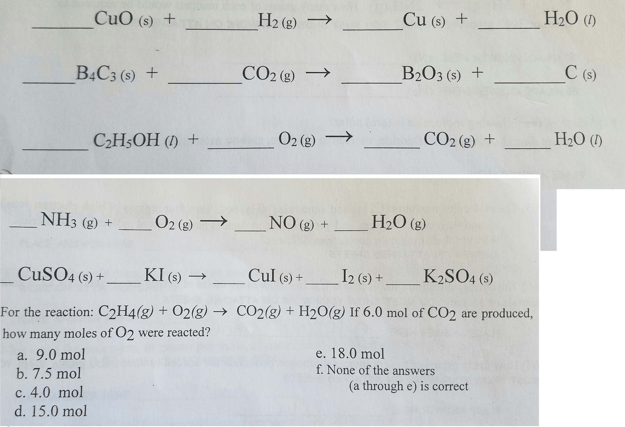 Solved Fill In The Blanks With The Correct Coefficient To