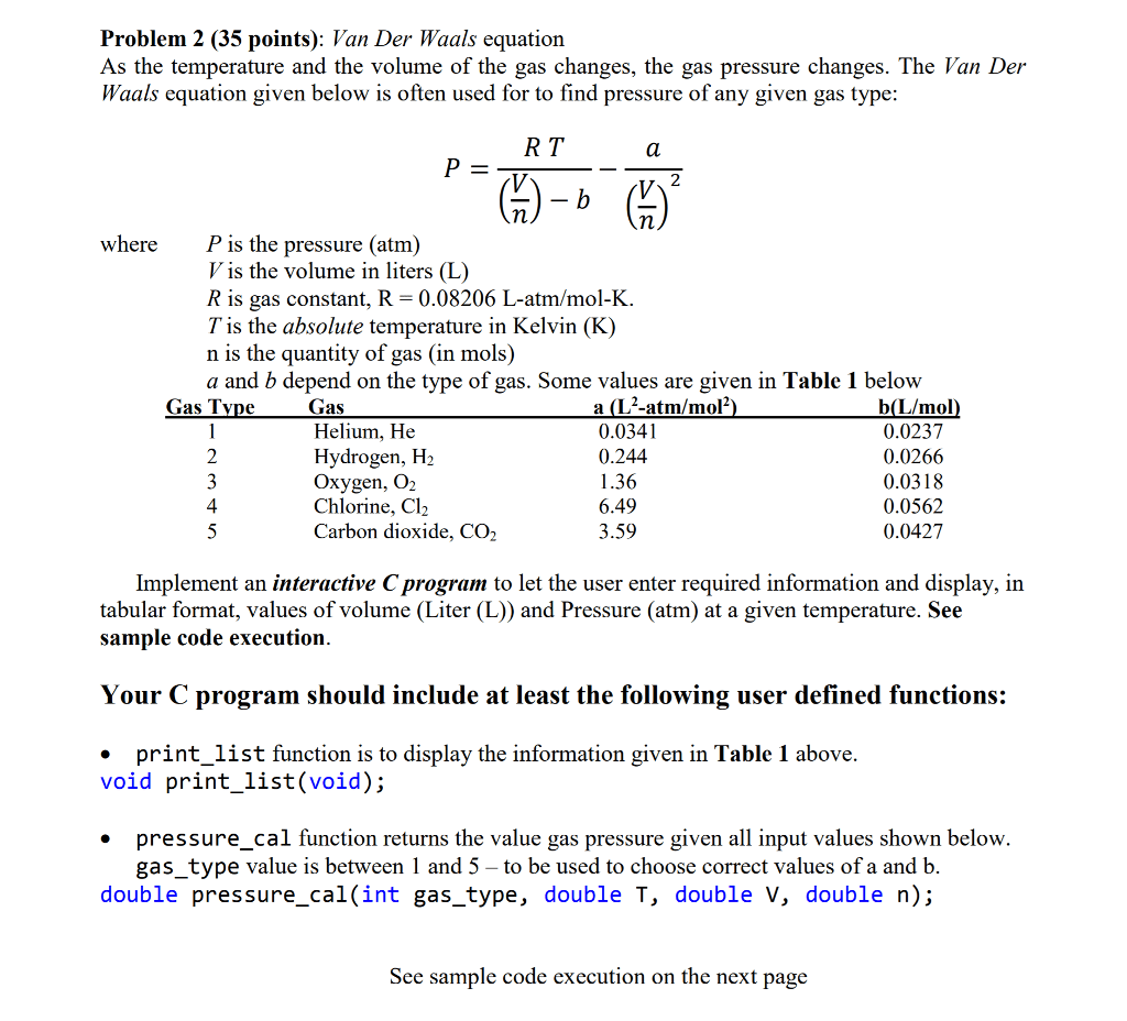 Solved Problem 2 35 Points Van Der Waals Equation As T