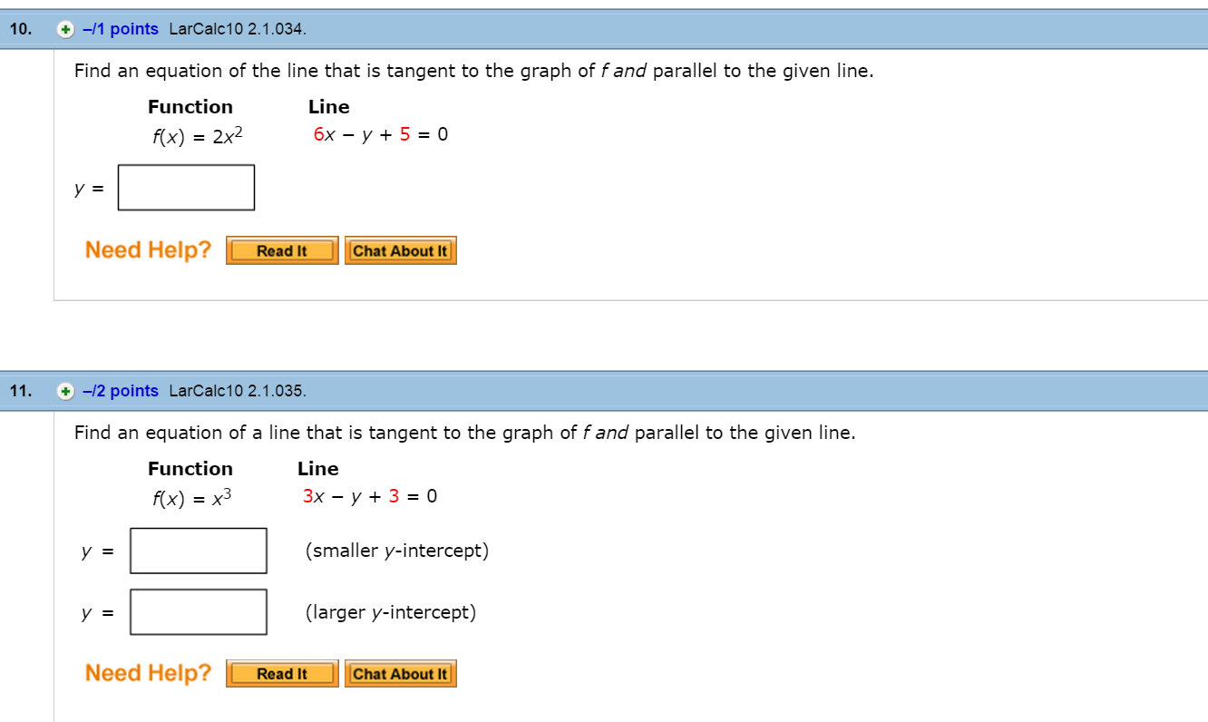 Solved Find The Equations Of The Two Tangent Lines To The