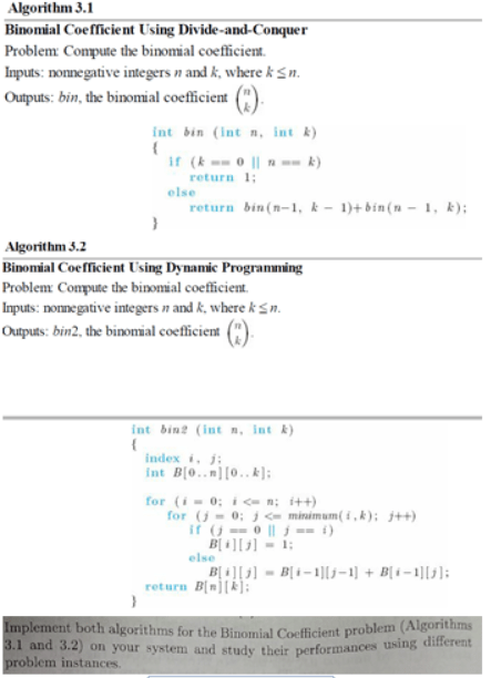 Binomial Coefficient Using Divide-and-Conquer Com