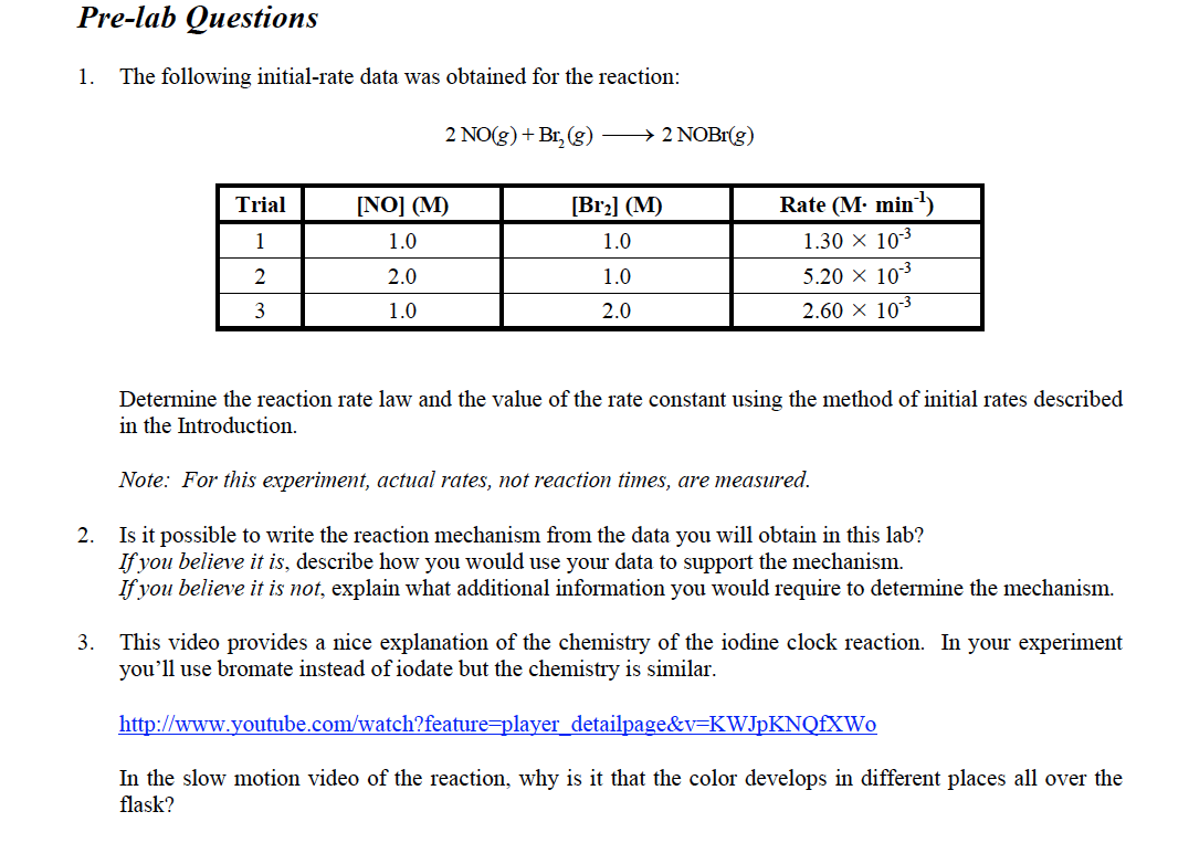 Solved Pre Lab Questions 1 The Following Initial Rate Da