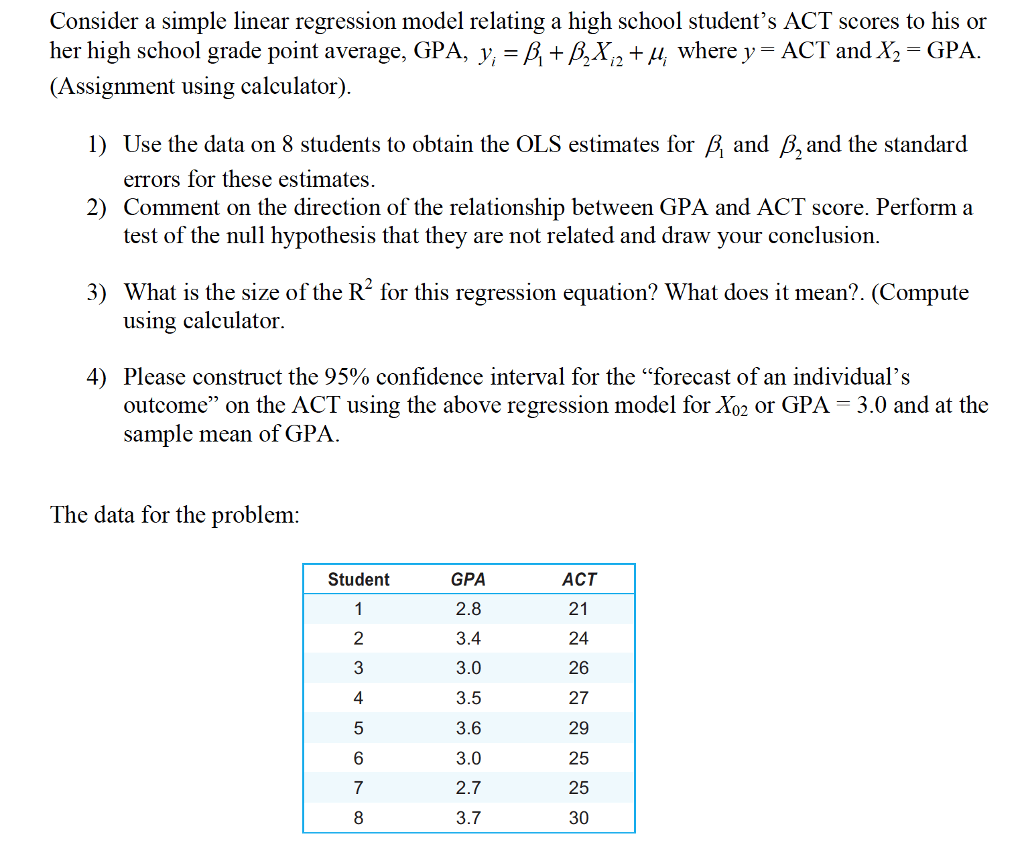 Solved Consider A Simple Linear Regression Model Relating