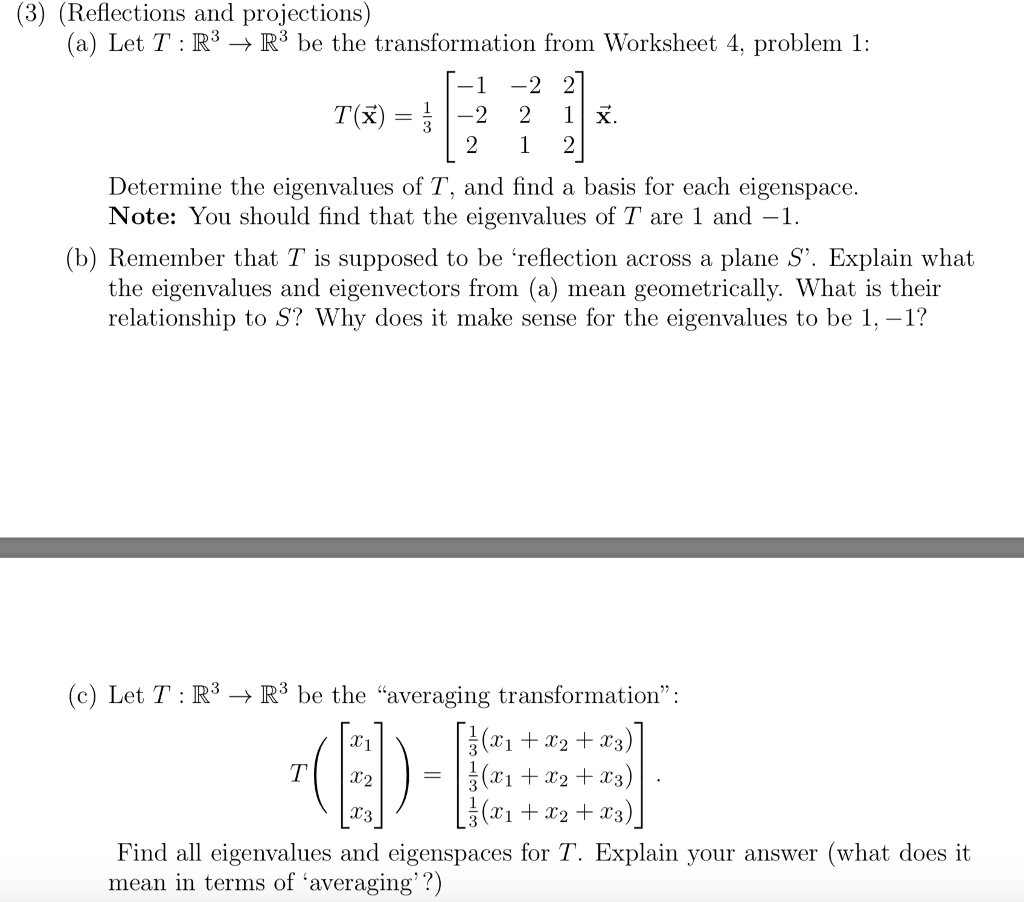 Solved 3 Reflections And Projections A Let T R3