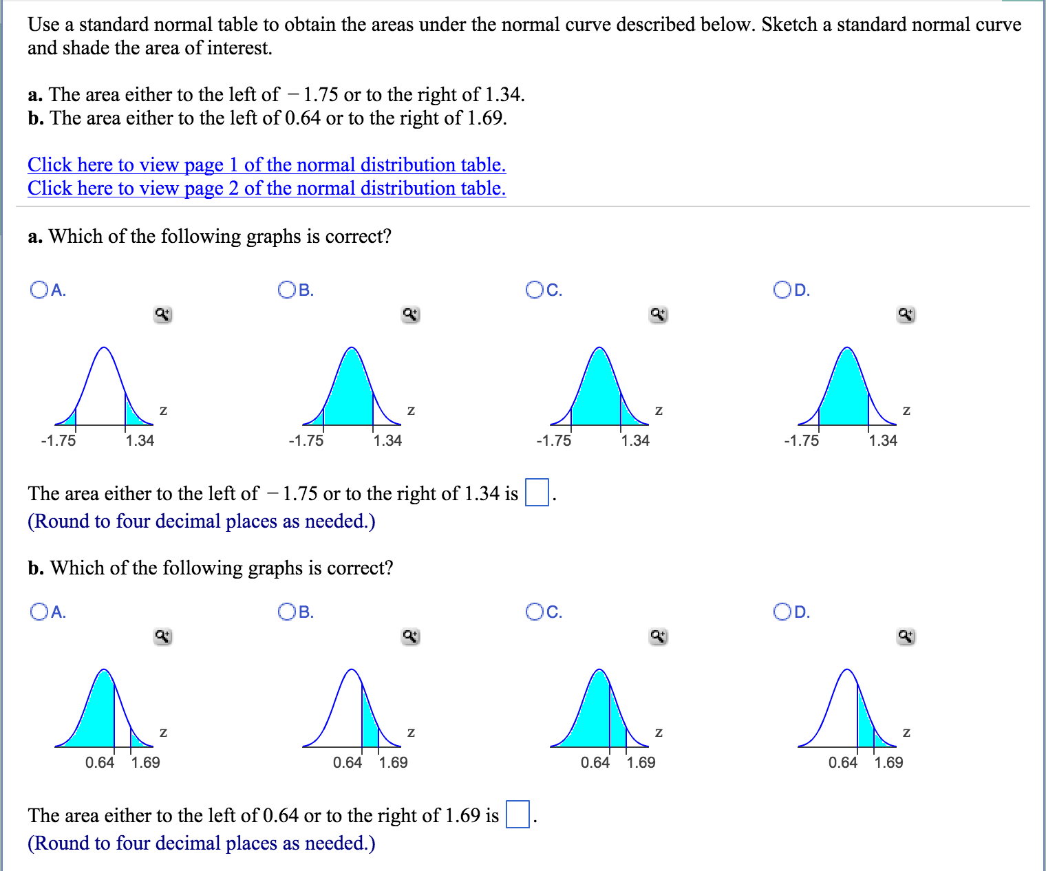 Solved Use A Standard Normal Table To Obtain The Areas Un