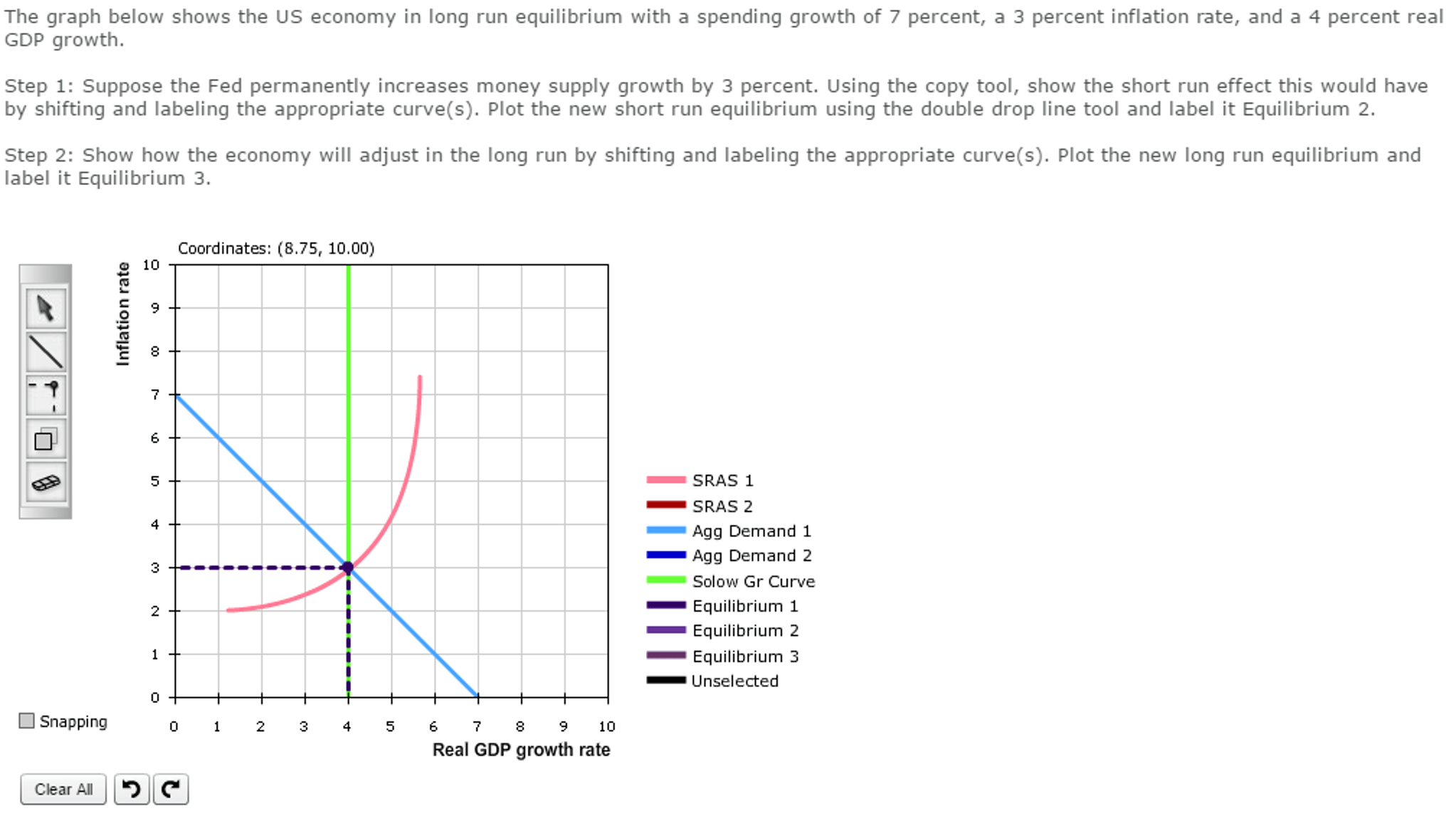 Solved The Graph Below Shows The Us Economy In Long Run E