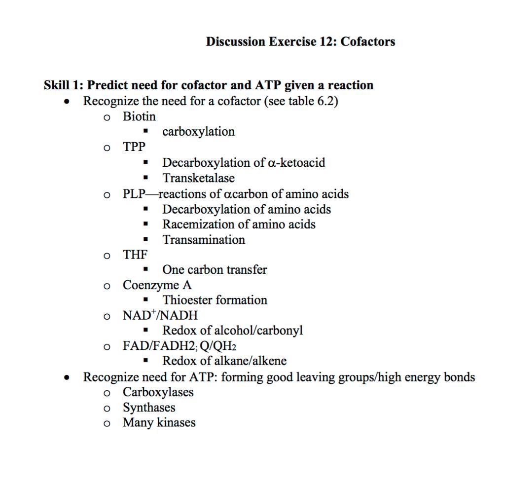 Solved Discussion Exercise 12 Cofactors Skill 1 Predict