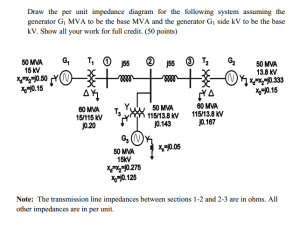 Solved: Draw The Per Unit Impedance Diagram For The System