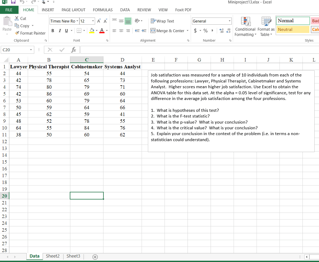 Solved Miniproject13 Xlsx