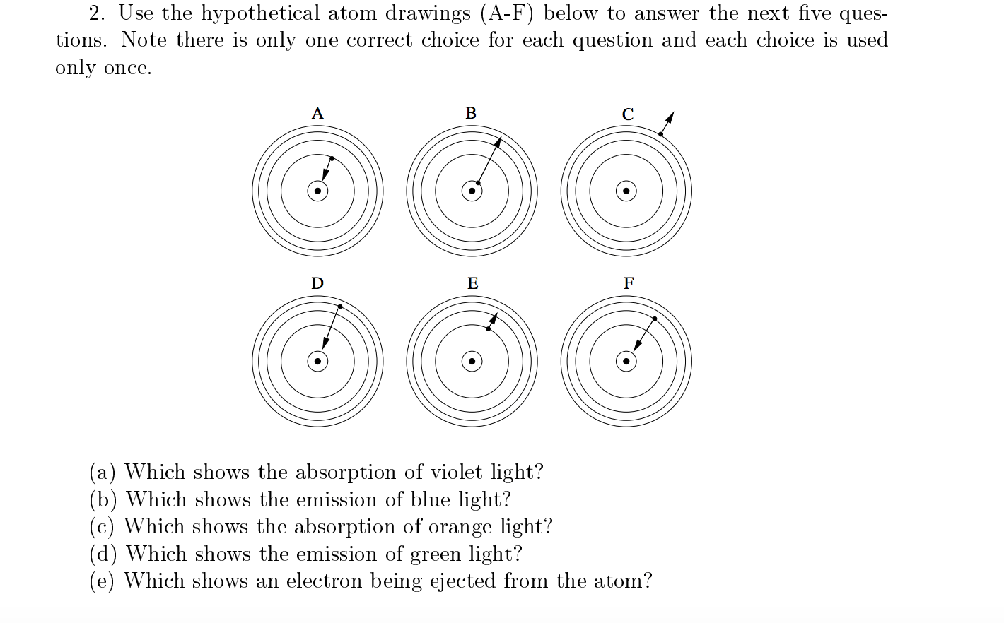 Solved Use The Hypothetical Atom Drawings A F Below To