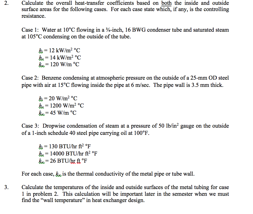 Solved 2 Calculate The Overall Heat Transfer Coefficient