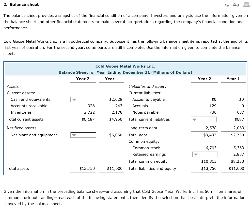 Solved 2 Balance Sheet Aa Aa The Balance Sheet Provides