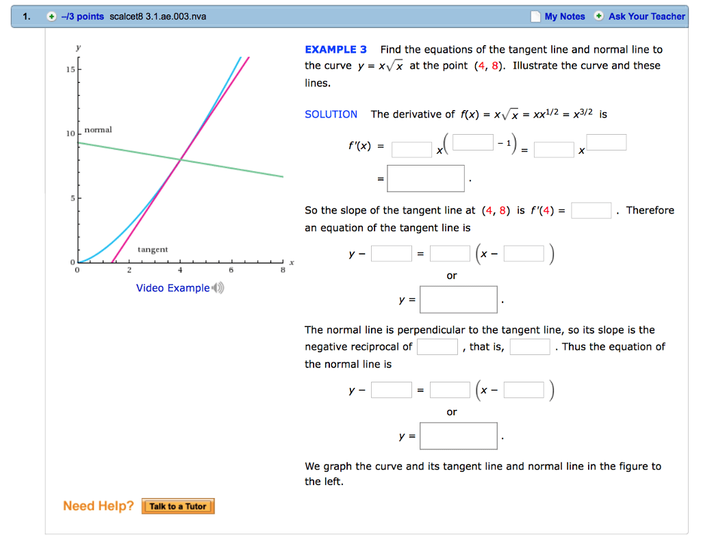 Solved Find The Equations Of The Tangent Line And Normal