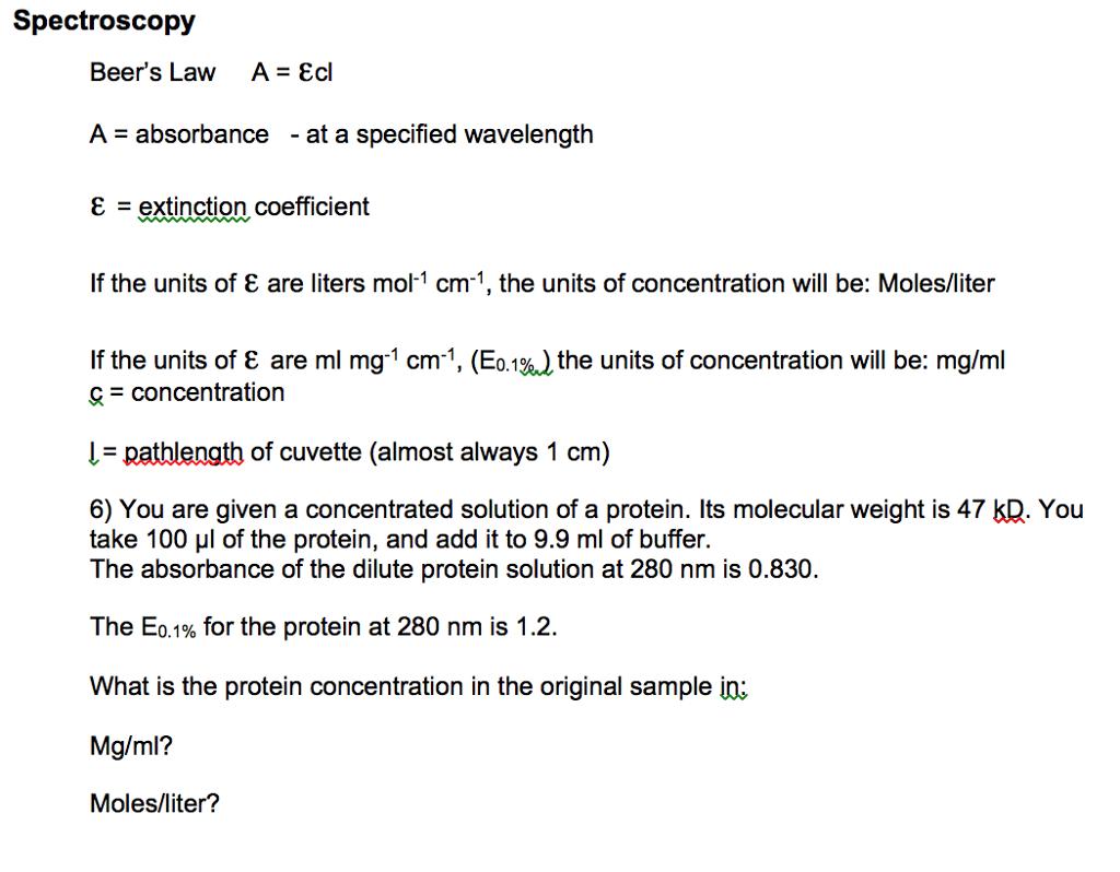 Solved Spectroscopy Beer S Law A Epsilon Cl A Absorba