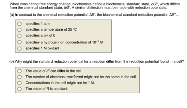 Solved: When Considering Free Energy Change, Biochemists D ...