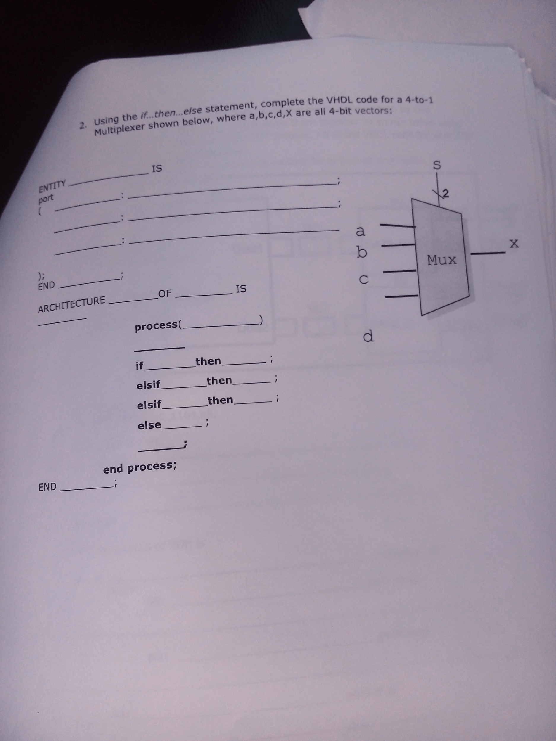 Solved 2 Using The If En Else Statement Complete Th