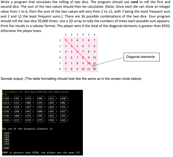 Write a program that simulates the rolling of two dice. The program should use rand to roll the first and second dice. The sum of the two values should then be calculated. [Note: Since each die can show an integer value from 1 to 6, then the sum of the two values will vary from 2 to 12, with 7 being the most frequent sum and 2 and 12 the least frequent sums.]. There are 36 possible combinations of the two dice. Your program should roll the two dice 50,000 times. Use a 2D array to tally the numbers of times each possible sum appears. Print the results in a tabular format. The player wins if the total of the diagonal elements is greater than 8350 otherwise the player loses. 9 10 Diagonal elements 6 7 8 9 10 11 Sample output: (The table formatting should look like the same as in the screen shots below) rince@Raji-PC /h/C-Neu TSD/TSD TP2 2817/week? :1422 :1381 1374 1402 : 1311 1350 1414 14151482139513821481 11443 1369 1437 1399 1493 1372 1382 1368 14511404 13811437 1346 1484 1376 1395 13631395 1365 1317 1339 13791368 1368 he sum of the diagonal elenents is 1422 1415 1437 1484 1363 1368 8489 489 is greater than 8358, the player won the game