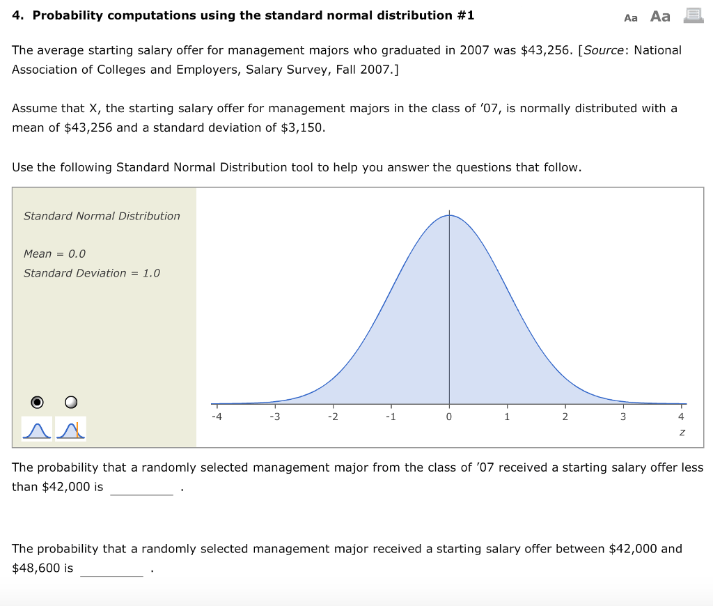 Solved 4 Probability Computations Using The Standard Nor