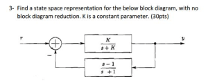 Solved: Find A State Space Representation For The Below Bl